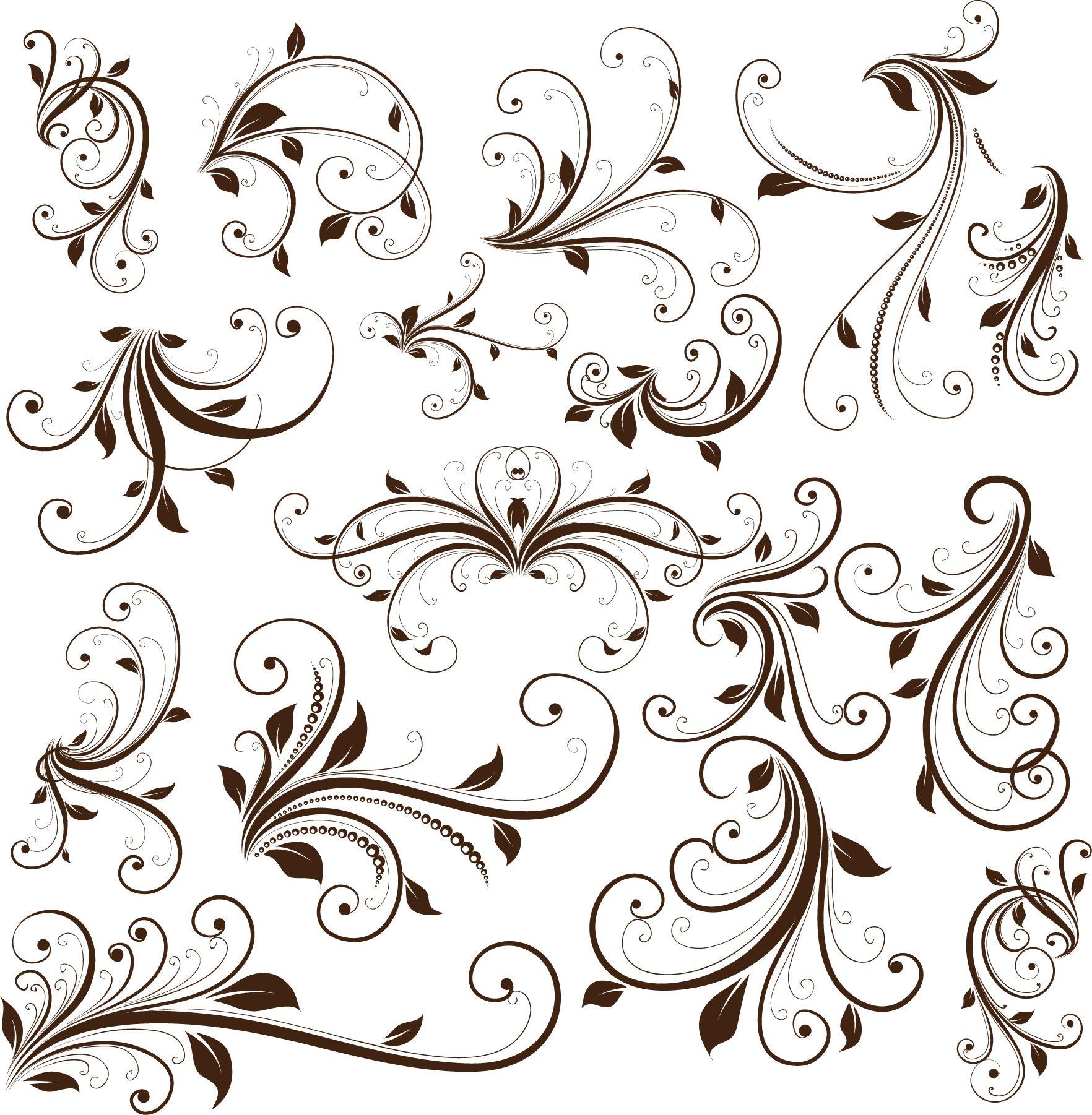 18 Design Swirl Floral Vector Art Images