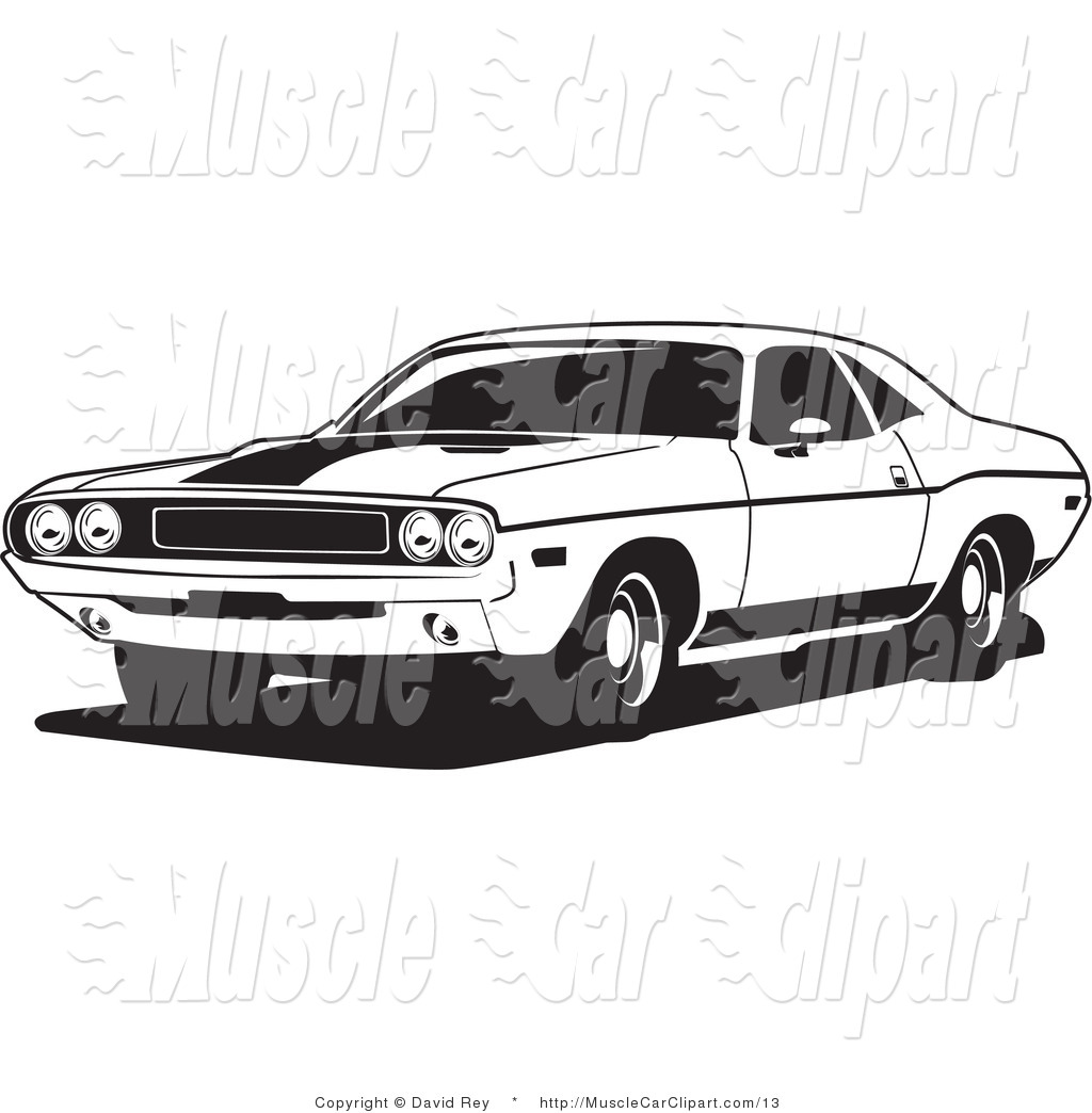 Dodge Challenger Car Black and White Clip Art