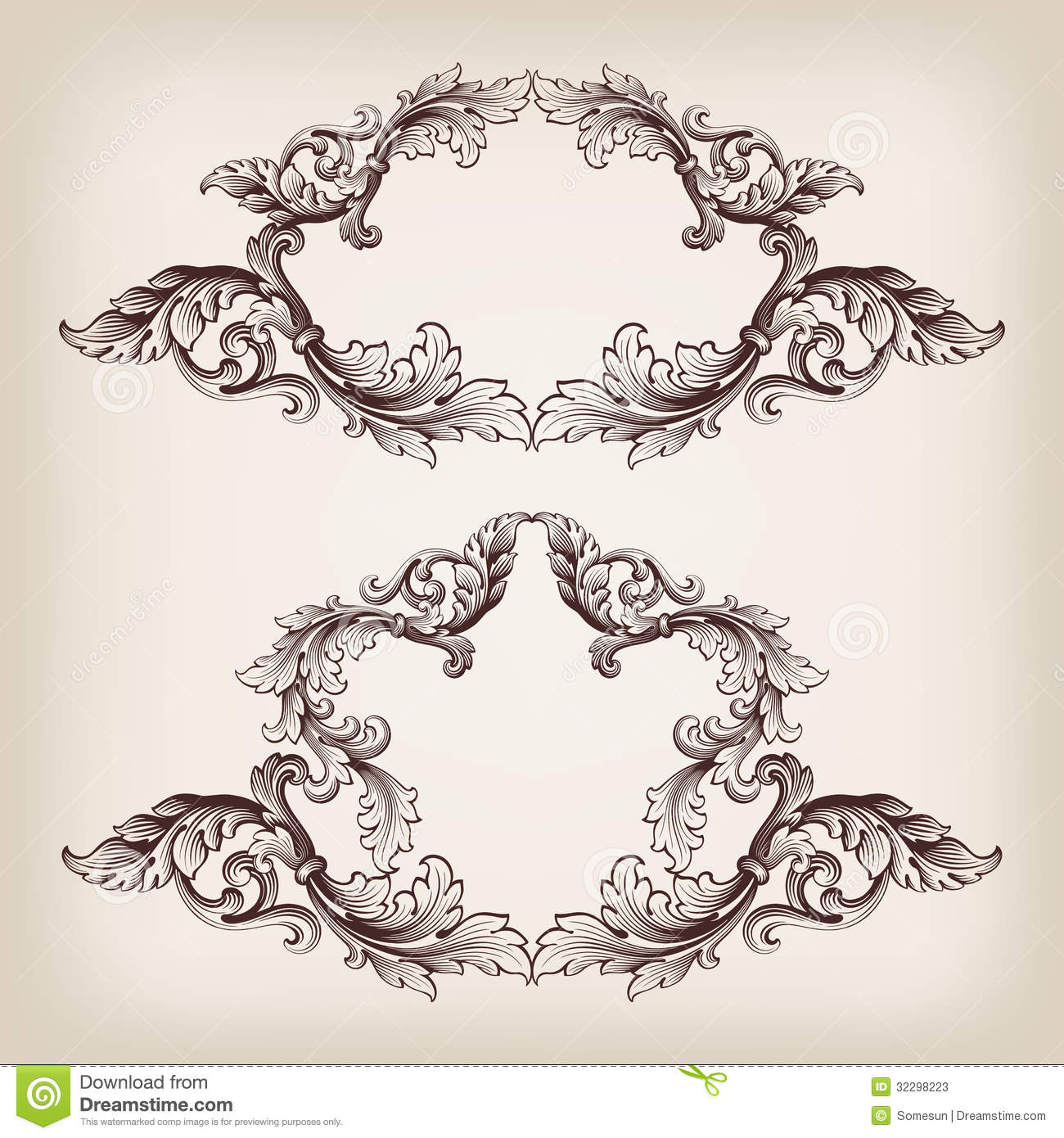 18 baroque frame vector border images vector corner for Filigree border designs