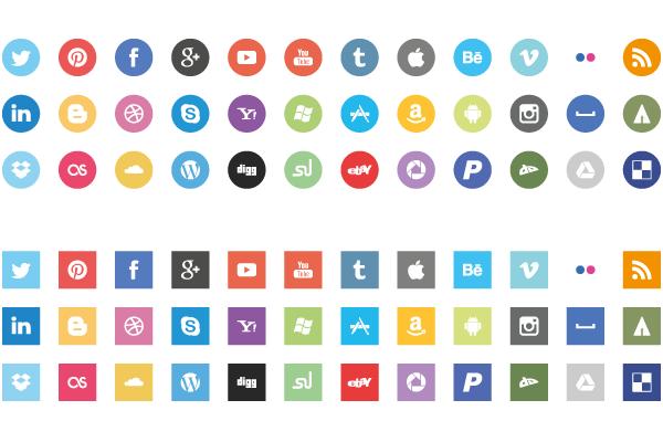 Flat Social Icons Free