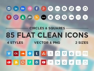 Flat Social Media Icons Vector Free