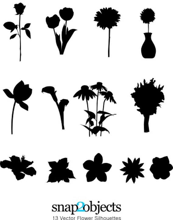 16 Flower Silhouette Vector Art Images