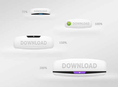 13 White Web Buttons Free PSD Images