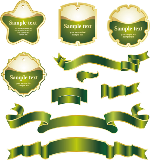 11 Green Ribbon Banner Vector Images