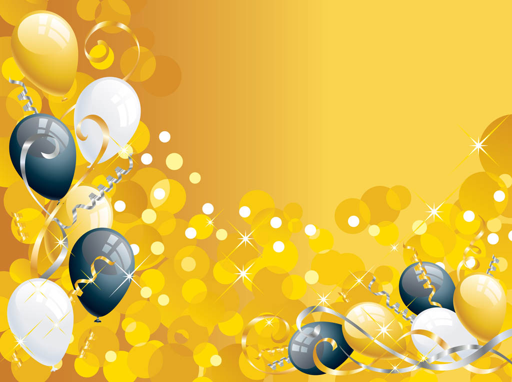 Gold Background with Balloons