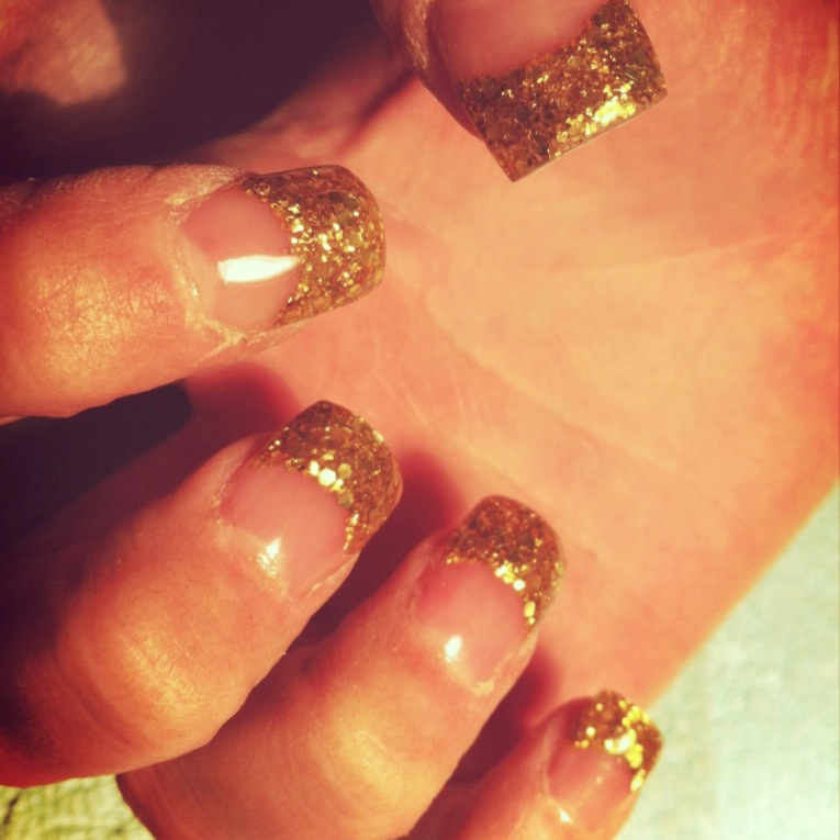 Gold Glitter Tips Acrylic Nails