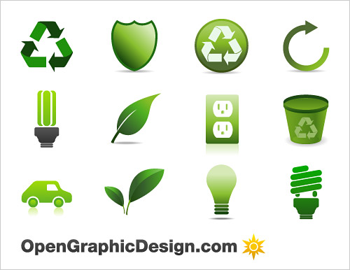 Green Energy Icons Vector Free