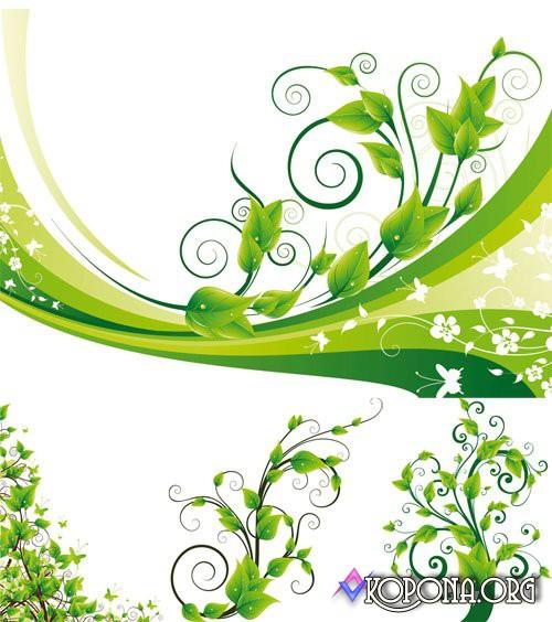 Green Floral Vector Design