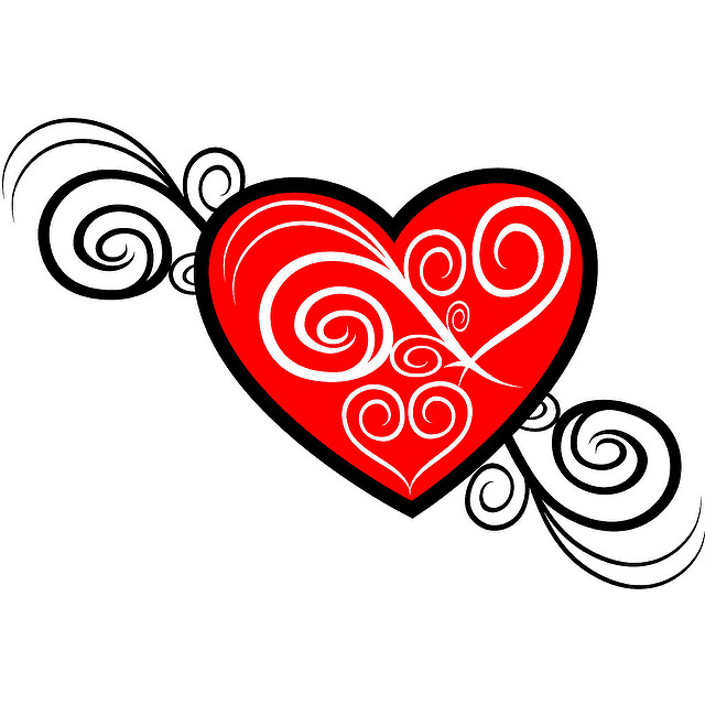 11 Vector Heart Flourish Images
