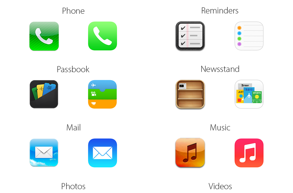 10 IOS 7 Icon Comparison Images