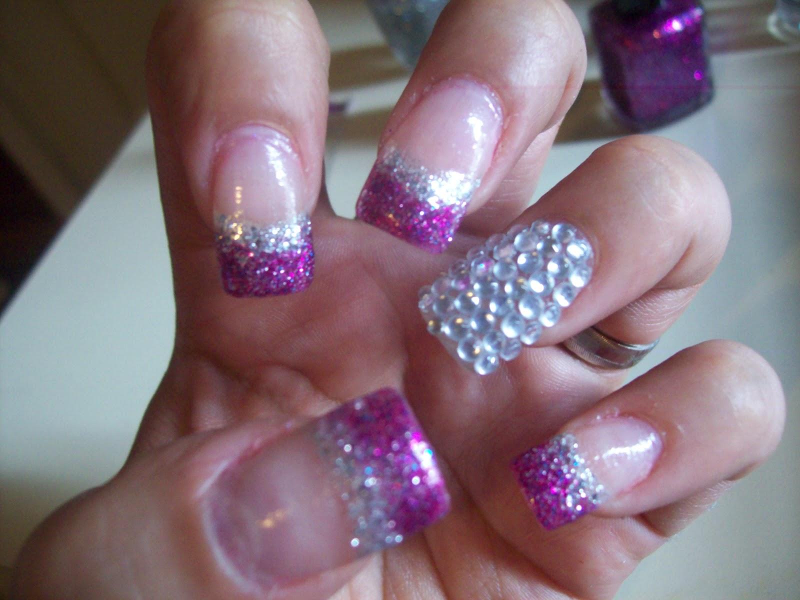 14 Purple Glitter Nails Design Images
