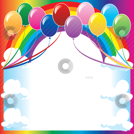 Rainbow Birthday Balloons Vector