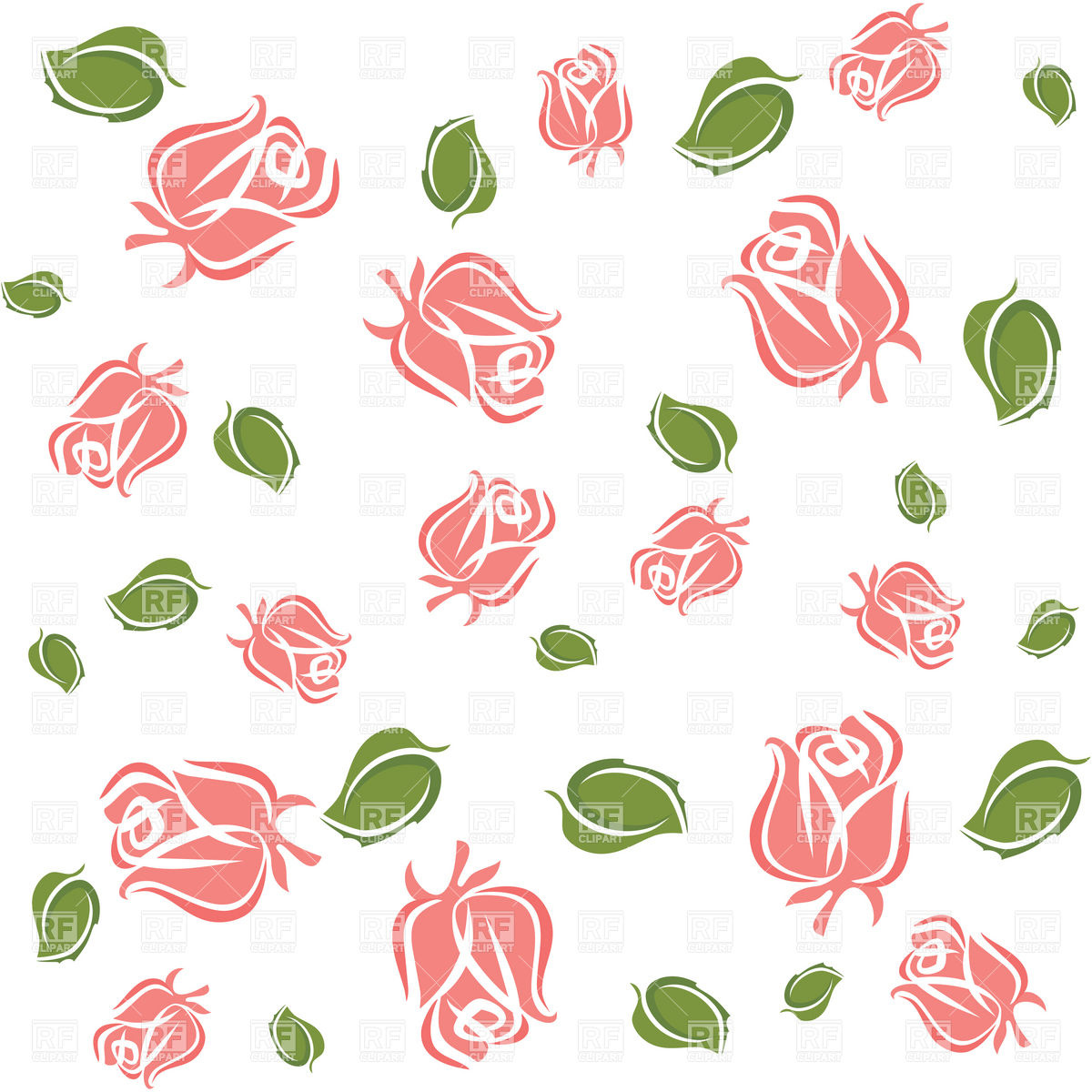 Roses with Leaves Clip Art Free
