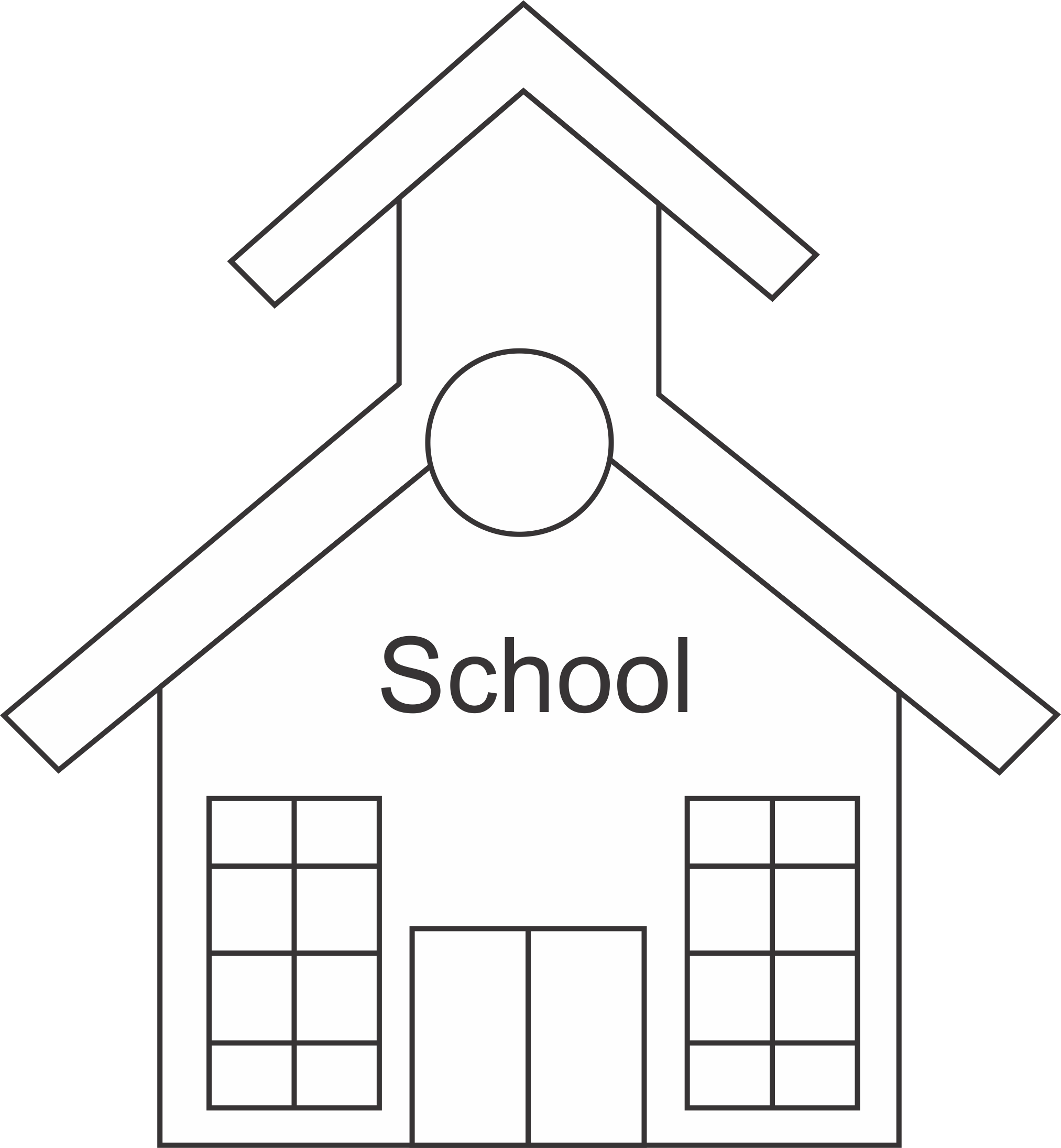 12 Black And White School Building Icons Images - Vector ...