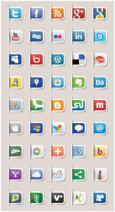 15 Tabs Vector Social Media Logo Flats Images