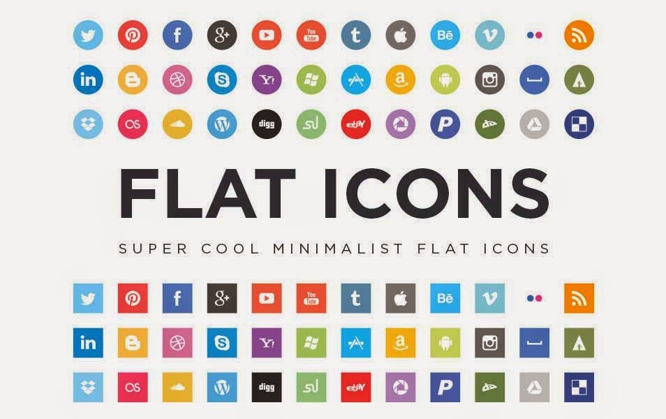 16 Social Media Icons Vector Flat Images