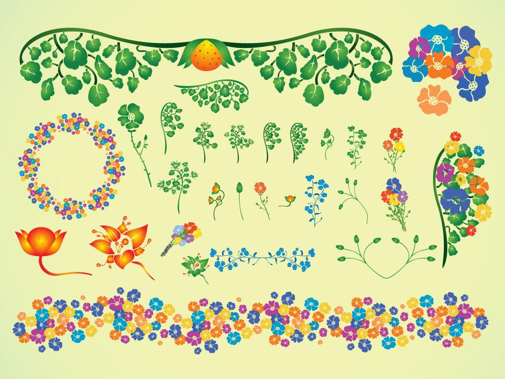 Summer Flower Border Clip Art