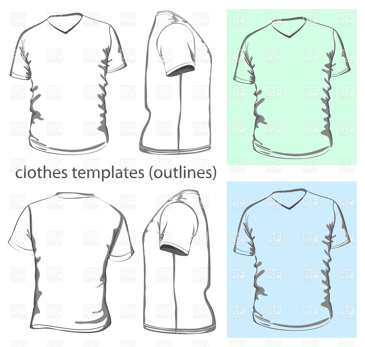 15 V-Neck T- Shirt Vector Template Design Images