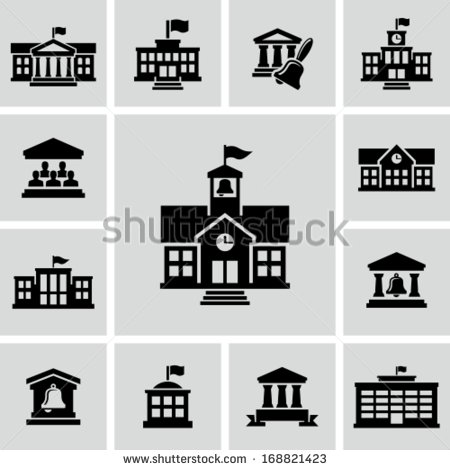 12 Black And White School Building Icons Images