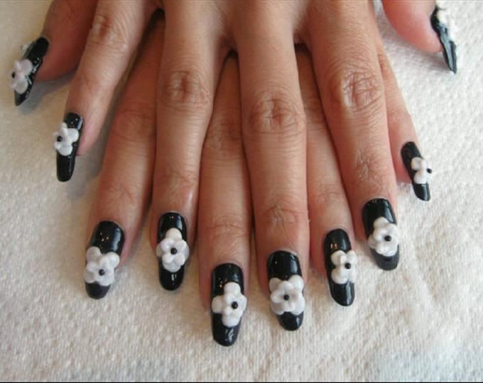 12 black and white acrylic nail designs images chanel
