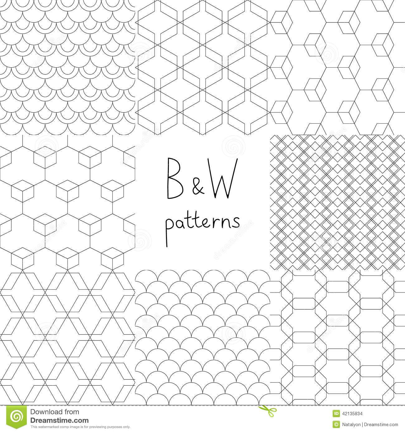 Black and White Simple Geometric Designs