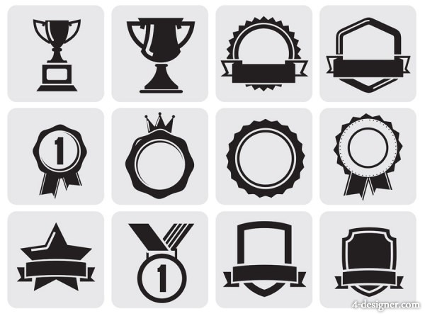 Black and White Trophy Icon