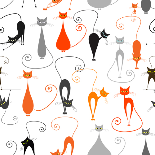 9 Cat Pattern Vector Images