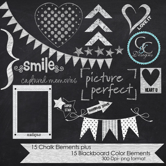 10 Chalkboard Design Elements Photoshop Images
