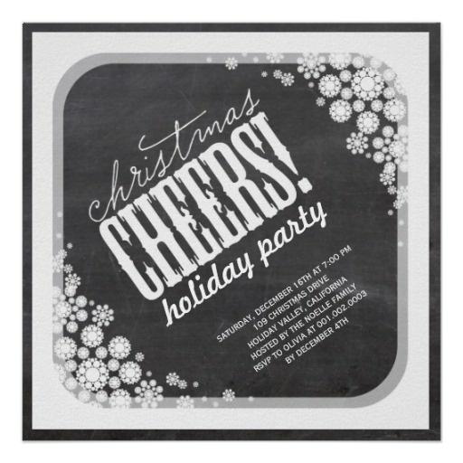 Chalkboard Snowflake Christmas Party Invitation