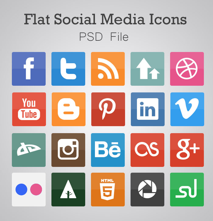 Collection of Free Flat Social Media Icons PSD
