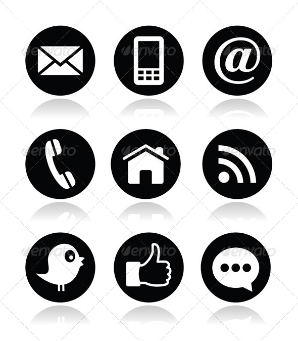 Contact Icons Black and White