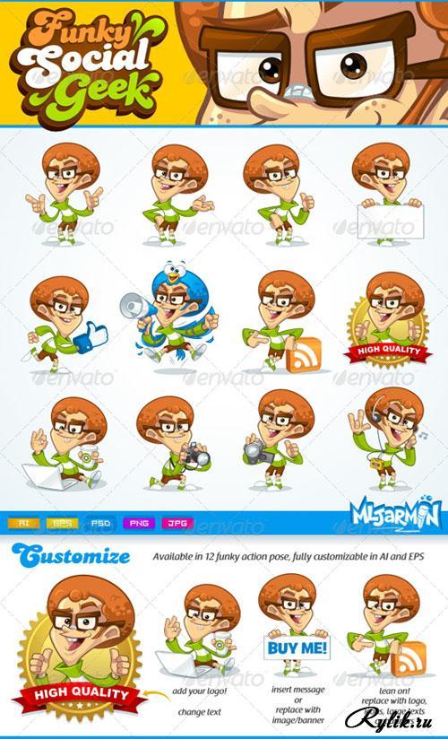 Designtnt - Geek Mascots Vector Set 1