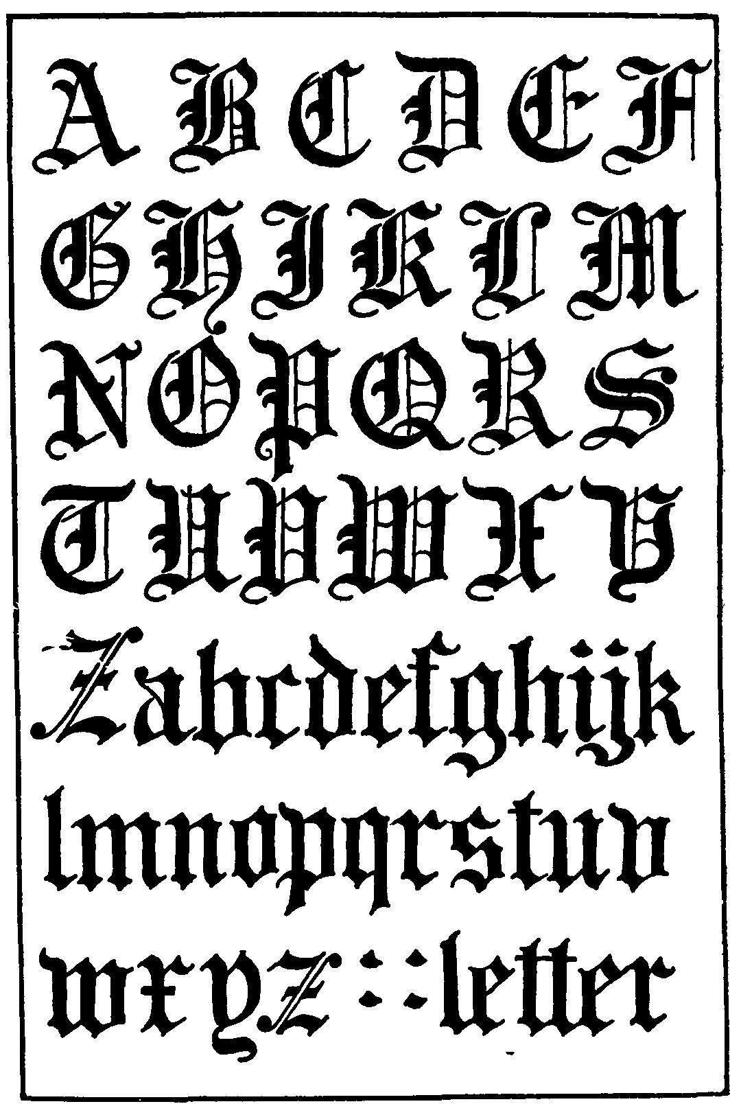 Gothic Font Alphabet Letters