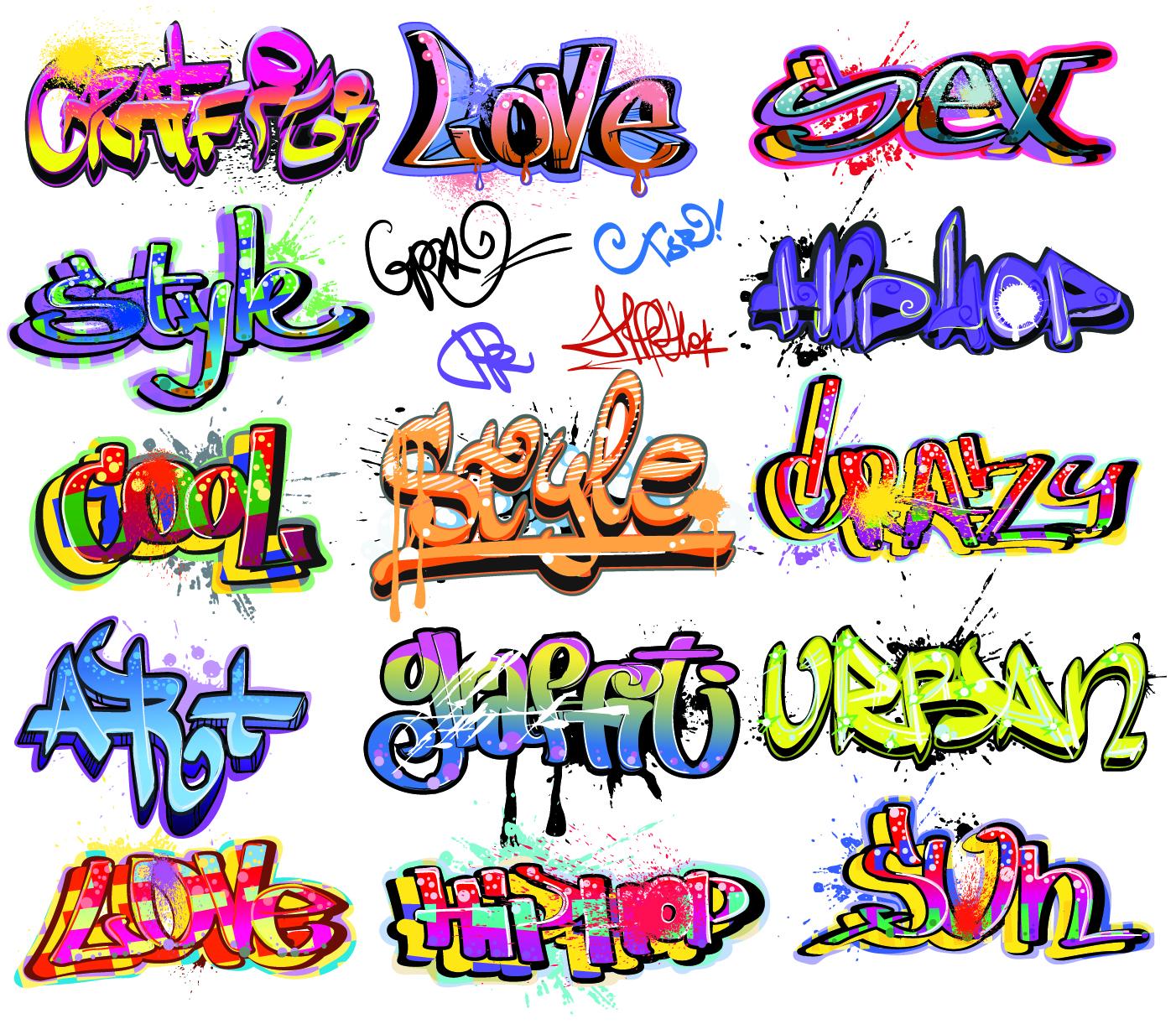 14 Graffiti Vector Font Images