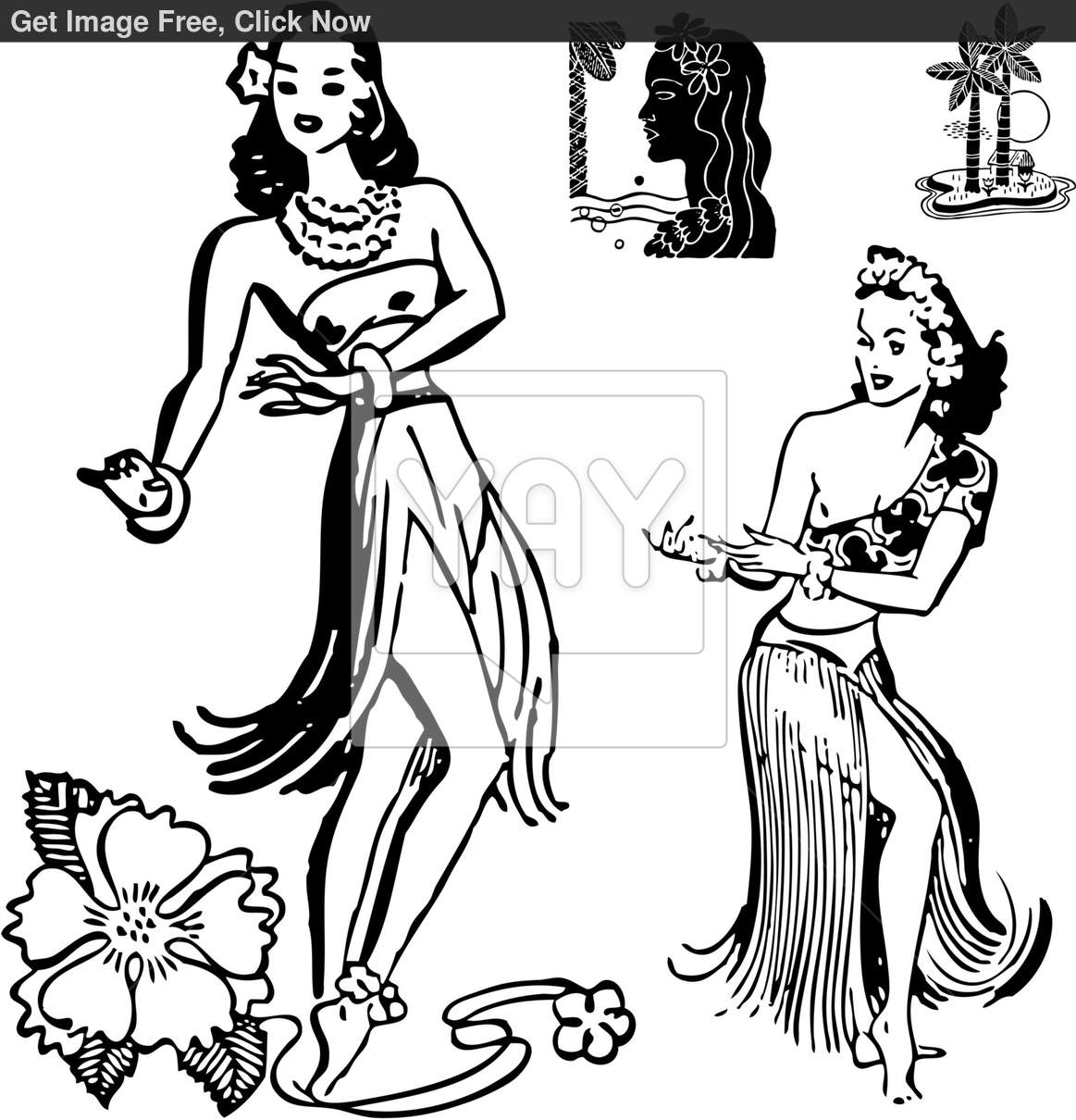 9 hula girl vector images hula girl silhouette clip art for Hula girl coloring page