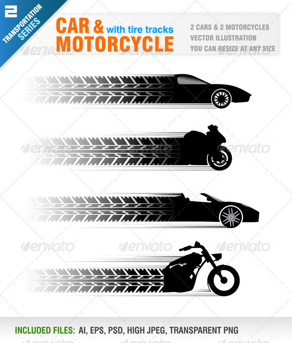 18 Tire Track Transparent PSD Layer Images
