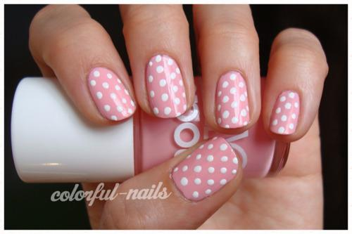 Pink And White Polka Dot Nail Designs