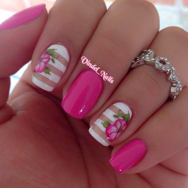 Pink Hibiscus Nail Art