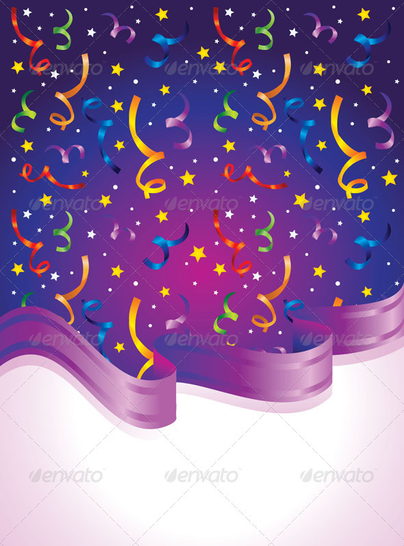 9 Confetti PSD White Images - Party Streamers and Confetti, Colorful