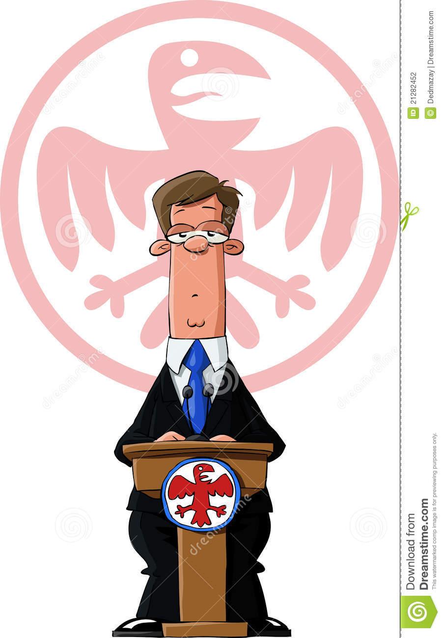 President Behind Podium Drawing