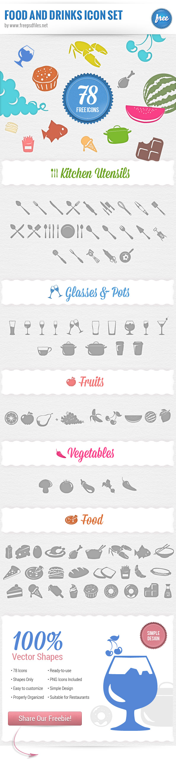 12 Food Icons PSD Images