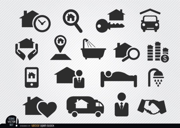 Real Estate Icons Silhouette