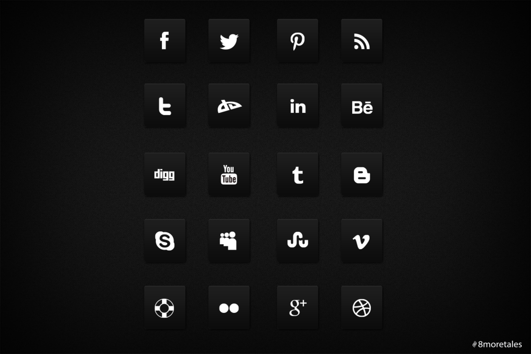 12 Social Media Icons Black Background Images