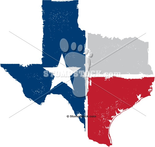 Texas Outline with Flag