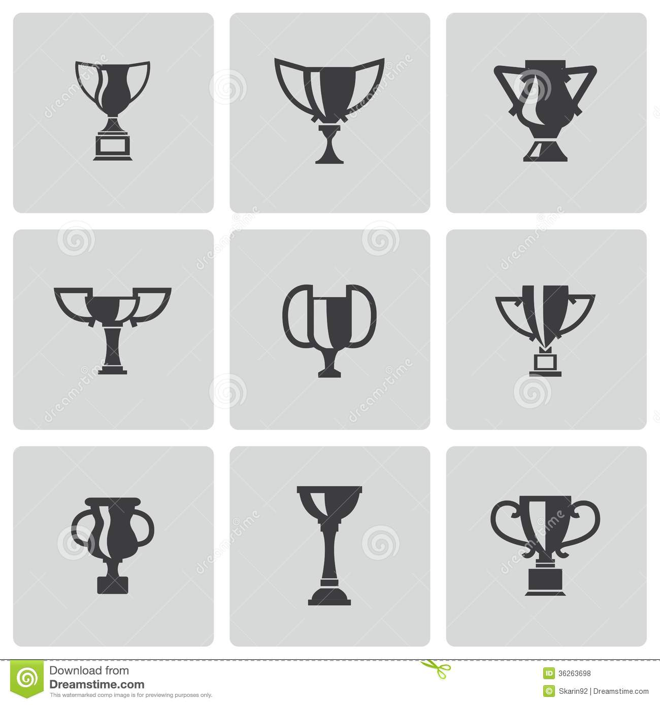 Trophy Icons Vector Black and White
