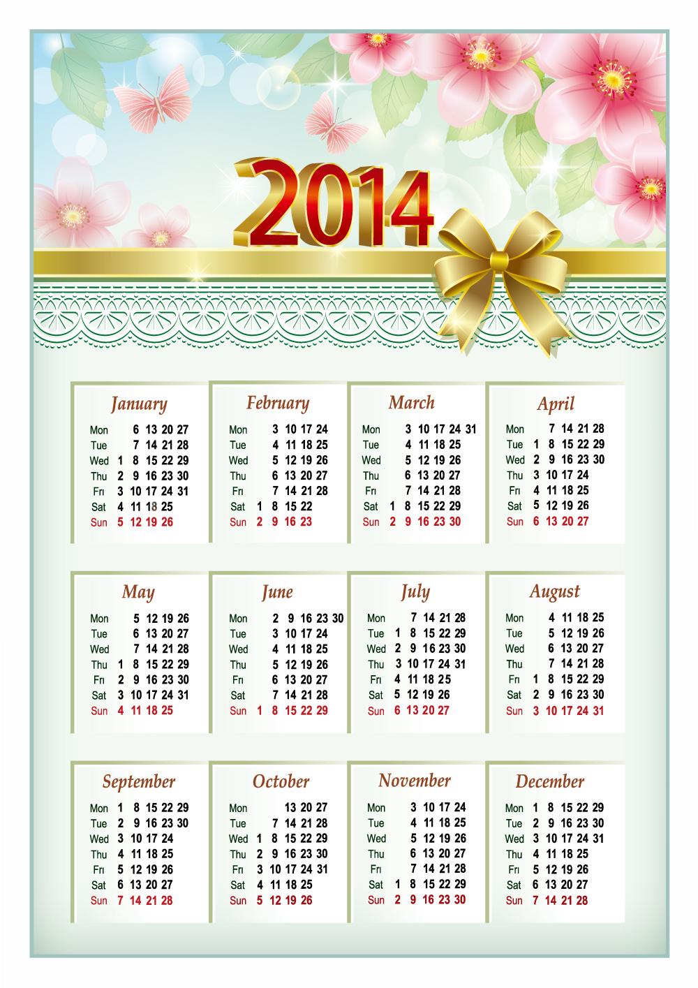 2014 Calendar Vector Free