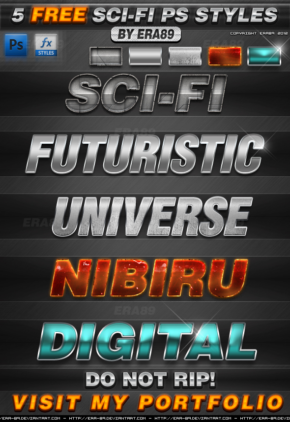 5 Sci-Fi Text Effects Photoshop Styles Free