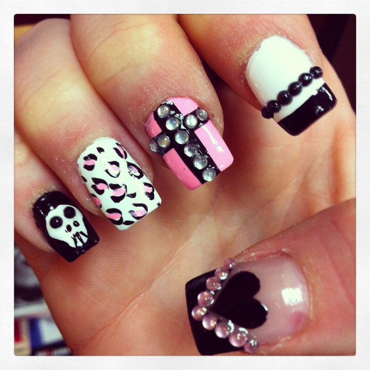 Acrylic Nails with Cross Design