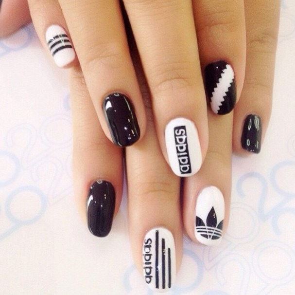 Adidas Black and White Nail Designs