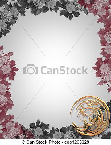 Asian Floral Border Clip Art